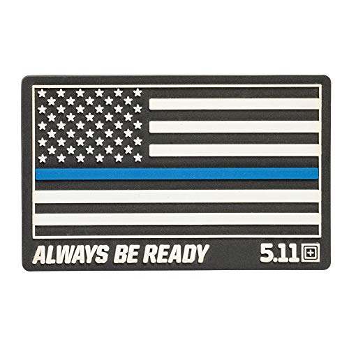 5.11 Tactical Thin Blue Line Rubber Patch, Hook-Back Adhesion, Laser-Cut to Size, Black, Style 81291