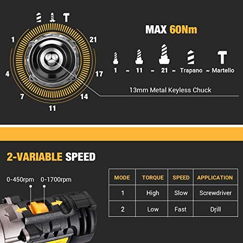 Perceuse Visseuse sans Fil, TECCPO 30min Rapide Chargeur(60Nm), 2×2.0Ah Batteries 18V, Perceuse a...