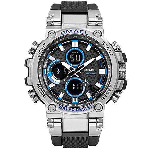 JTTM Reloj Analógico Digital Militar Reloj Deportivo Hombres Dual Dial Negocio Casual Multifunción Relojes De Pulsera Electrónicos Reloj Resistente,Silver Blue