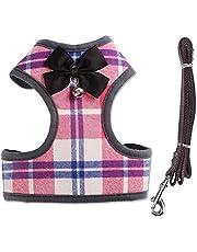 Rantow Tungt husdjur hundsele väst + hundkoppel för husdjur – klassisk pläd valp sele kattunge koppel rep set för små hundar stora katter – med söt fluga och klocka (S, rosa pläd)