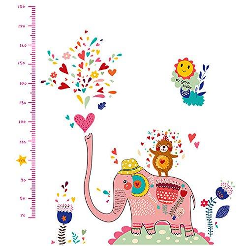 winhappyhome Celebrate croissance éléphants Eau enfants Hauteur Mesure en Art Mural Stickers pour chambre salon chambre TV fond stickers DECOR amovible