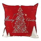 Merry Christmas Pillow Case Xmas Tree Cushion Cover, Cotton Linen Sofa Bed Throw Cushion Cover Decoration for Sofa Car