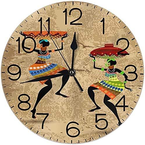 Alfombrillas de baño Reloj de Pared para Mujer Tribal étnica Africana, silencioso, Funciona con Pilas, 9.5 Pulgadas, para Estudiantes, Oficina, Escuela, hogar, Reloj Decorativo