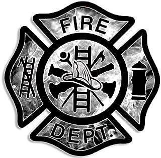 American Vinyl Smoke BG Fire Dept Maltese Cross Shaped Sticker (Firefighter Fireman)