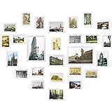Yorbay Conjunto de Marcos de Fotos de Madera para 26 Fotos montado en la Pared (26 Fotos Blanco) Reutilizable