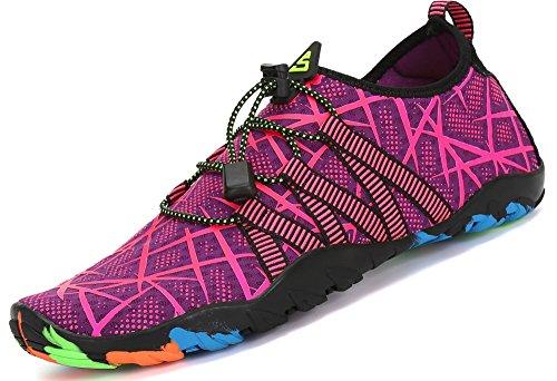 Zapatos de Agua para Buceo Snorkel Surf Piscina Playa Vela Mar Río Aqua Cycling Deportes Acuáticos Calzado de Natación Escarpines para Mujer,Morado 37