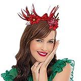 WELROG Fasce di corna di Natale Fermagli per capelli con fiori artificiali Fasce per capelli da donna per feste in maschera per Halloween (Piuma)