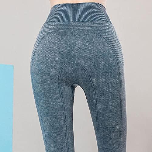 MLLM Aeróbico Pilates Fitness Pantalones,Pantalones de Yoga elásticos de Nueve Puntos, Pantalones de Fitness de Cadera-Blue_XL / 8,Ideal para Yoga y Cualquier Deporte Pantalon