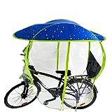 GAMINAC Protection imperméable Contre la Pluie pour vélo Bleu/Bulle Parapluie Anti UV VTT VTC vélos électriques/Capote auvent Pare Brise intégral/Housse protège Cycliste et siège bébé des intempéries