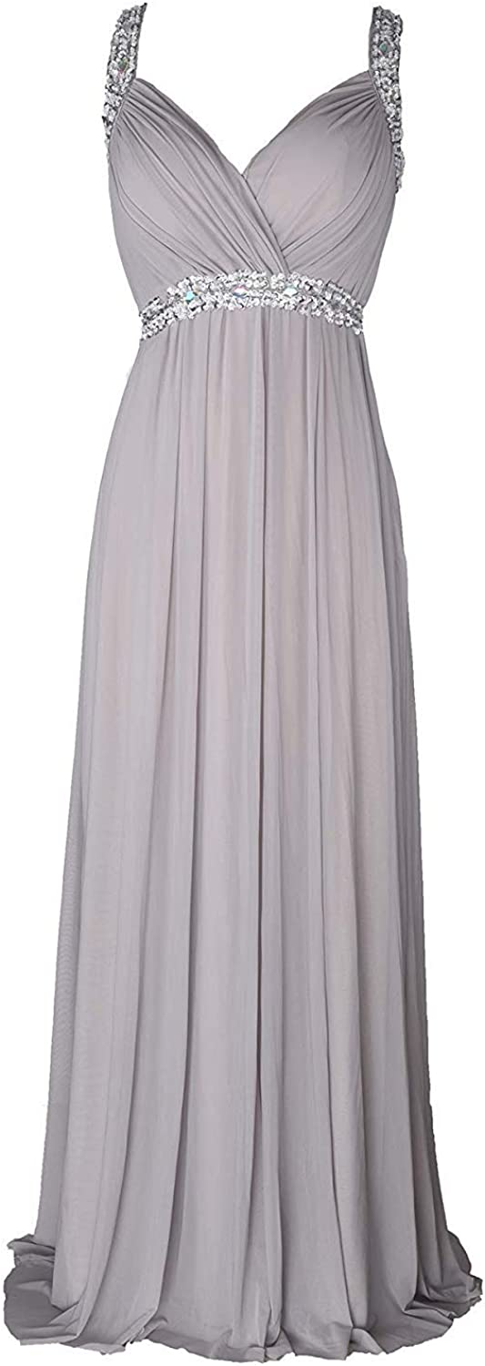 LiBridal Women's Cross Straps Beaded Prom Bridesmaid Dress A Line Rhinestone Formal Dress
