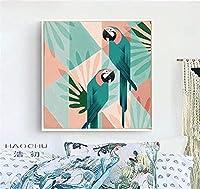 抽象的な幾何学的なカラフルな漫画かわいいトコオニオオハシオウム鳥動物キャンバス絵画壁アートポスター寝室リビングルームスタジオ家の装飾壁画