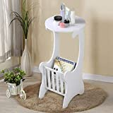 biggroup Mesa auxiliar redonda elegante con revistero para sala de estar, color blanco