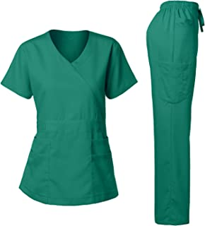 Women's Scrubs Set Stretch Ultra Soft Y-Neck Wrap Top and Pants