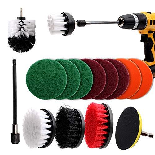 CCLIFE Bürstenaufsatz Bohrmaschine Set, 15 Stück Bürste für Akkuschrauber Reinigungsbürste Polieraufsatz 2''/ 3.5''/ 4''/ 5'' für Badwanne Fliesen Küche