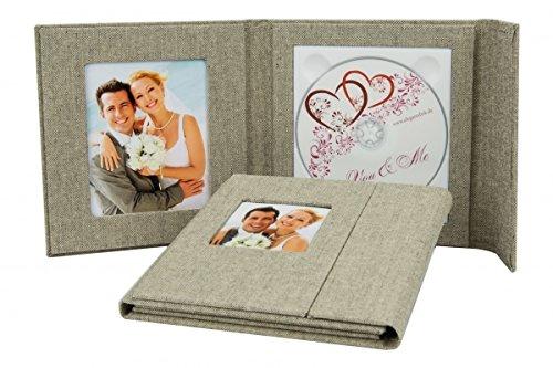 1-serie CD/DVD/BluRay hoes. DVD-case voor 1 schijf met 2 vensters. Linnen stof grijs
