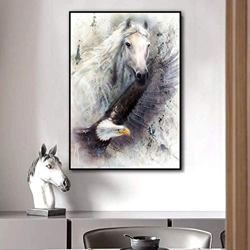 Paard adelaar dier canvas schilderij zwart-wit kunst kunst aan de muur foto frameloze woonkamer slaapkamer moderne huisdecoratie 40x55cm
