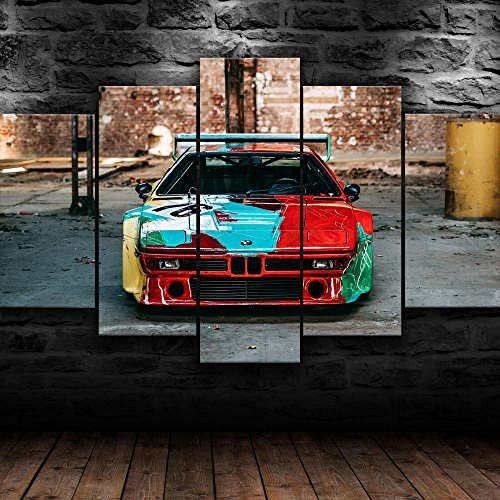 5 Teilig Bilder Leinwand,Leinwanddrucke 5 Stück,Leinwanddrucke Wanddekoratio 5 Teiliges Wandbild,Bilder Wohnzimmer Modern Mit Rahmen,3D Xxl Bilder,Wohnzimmer,150X80Cm Bm M1 Classic Grafitti Auto