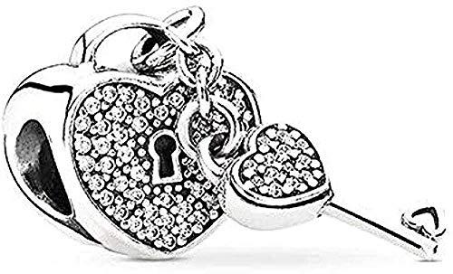 ZGYFJCH Co.,ltd Collar 2 unids/Lote Love Key Lock Charm Beads Colgantes Se Adapta al Collar Original de la Pulsera del Encanto para Las Mujeres Fashiont