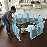 Toddleroo by North States Superyard Indoor-Outdoor Play Yard: Safe Play Area Anywhere - Folds up with Carrying Strap for Easy Travel. Freestanding. 18.5 Sq.'. Enclosure (26' Tall, Aqua Blue, 6-Panel)