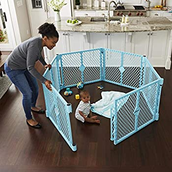 Toddleroo by North States Superyard Indoor-Outdoor Play Yard  Safe Play Area Anywhere - Folds up with Carrying Strap for Easy Travel Freestanding 18.5 Sq  Enclosure  26  Tall Aqua Blue 6-Panel