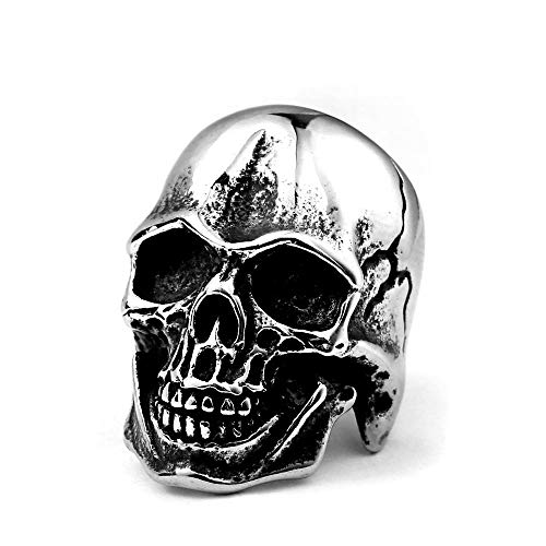 ZMY Home Fashion Stainless Steel Jewelry Rings, Weird Smile Skull Ring for Men (10)