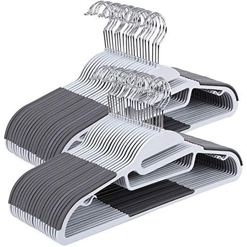 SONGMICS Kleiderbügel, 50 Stück, Anzugbügel aus Kunststoff, gut belastbar, S-Form-Öffnung, rutschfest, Dicke 0,5 cm, platzsparend, um 360° drehbarer Haken, 41,5 cm lang, dunkelgrau-grau CRP41G-50