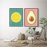 Cuadro en lienzo moderno cartel de limón fruta tropical aguacate cuadros de arte de pared minimalista nórdico para decoración de cocina (30x50cm) 2 piezas sin marco