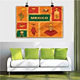 ParadiseDecor Mexican Christmas Wall Art Cactus Tequila Lemon Pepper 28x40 Inch Bathroom Living Room Modern Home Decorations