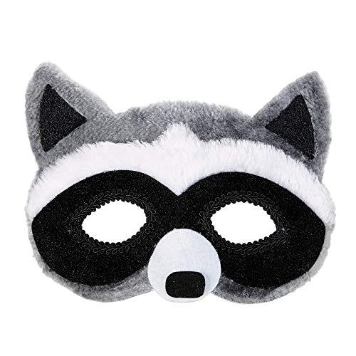 Widmann 03883 – Plüschaugenmaske Waschbär, mit Gummiband, Maske, Tiermaske, Accessoire, Zubehör, Motto Party, Karneval