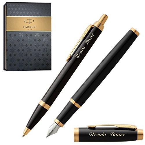 PARKER Schreibset IM Black Lacquer G.C. mit Gravur Füller und Kugelschreiber mit Geschenk-Etui
