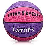meteor® Layup Mini Basketball fur Kinder Größe #3 ideal auf die Kinderhände von 4-8 Jährigen abgestimmt idealer Jugend Basketball für Ausbildung weicher Basketball (Rosa & Violett - Größe #3)