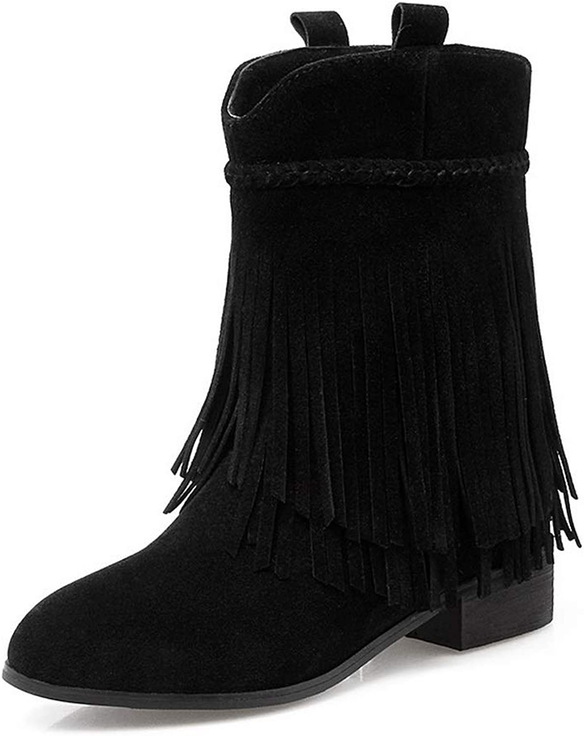 AdeeSu Womens Fringed Solid Charms Leather Boots SXC03033