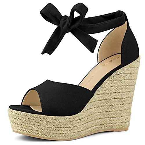 Allegra K Women's Espadrilles Tie Up Ankle Strap Wedges Black Sandals - 7 M US