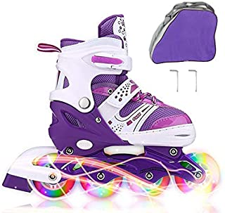 JIFAR Youth Children's Inline Skates for Kids, Adjustable Roller Blades with Light Up Wheels for Girls Boys, Indoor&Outdoor Ice Skating Equipment in Small Medium Size, Blue&Purple