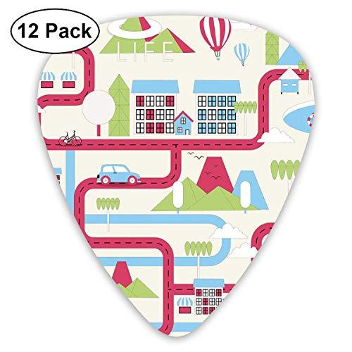 Gitaar Picks12 stks Plectrum (0.46mm-0.96mm), Cartoon Downtown Cars Schepen En Fietsen Ballonnen Winkels Appartementen Bergen Leven,Voor Uw Gitaar of Ukulele