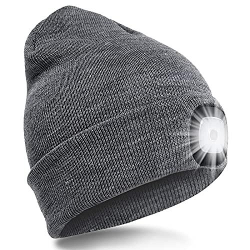 SPGOOD LED Beanie Beleuchtete Mütze mit Licht Laufmütze Herren Damen Kappe Lampe USB Nachladbare Mütze Winter Warm Stirnlampe mit LED Licht für Jogger,Camping,Laufen (Dunkelgrau)