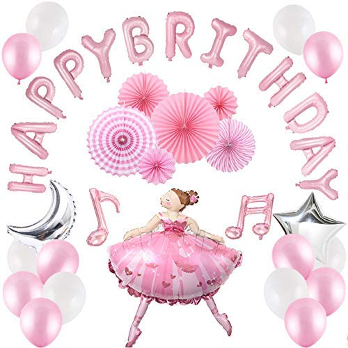 40 Pcs Girls Birthday Party Supplies, Pink Ballet Dancing Girl Balloons Sets, Happy Birthday Banner, Musical Note Balloons, Latex Balloons, Foil Pentagram and Moon Balloon