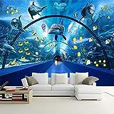 LXiFound Fotomurales Póster Con Impresión De Pared - Azul Acuario Pez Ballena - Foto Papel Tapiz Póste Pared Pintado Papel Tapiz 3D Decoración Dormitorio Fotomural Sala Sofá Pared Mural