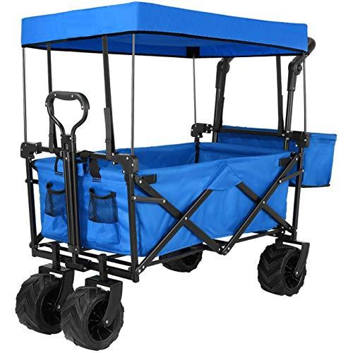 CRZJ Wagon Utilitaire Pliable, Chariot à Main Pliable et Robuste à Pousser et Tirer avec auvent Amovible, pour Faire du Shopping, Pique-Nique, Plage, Camping,Bleu