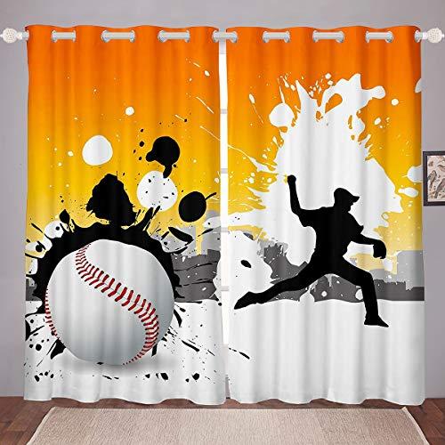 Baseball Curtains Sports Window Curtains for Bedroom Living Room Boys Girls 3D Tie Dye Ball Window Drapes Baseball Games Design Hippie Graffiti Window Treatments,W46*L72