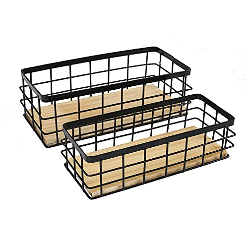 Organizzazione e conservazione della cucina in metallo, da appendere alla frutta, set di 2 pezzi, nero, organizer portaoggetti per appendere in ingresso, fango, camera da letto, bagno, lavanderia