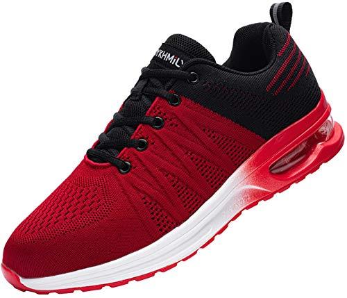 Fenlern Sicherheitsschuhe Herren Arbeitsschuhe mit Stahlkappe Leicht Atmungsaktiv Schutzschuhe Sneaker(Schwarz Rot,40)