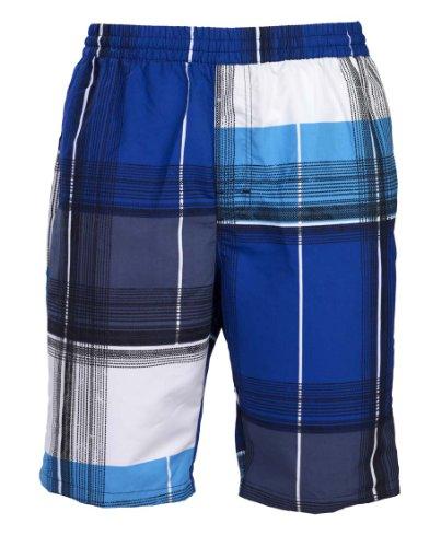 Olibia Mar: Moderne Jungen Badeshort - Gemustert in blau und weiß in Größe 152