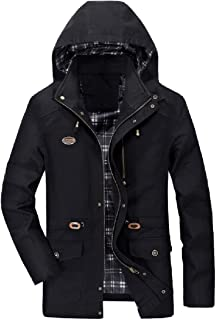 XINHEO Men Twill Large Size Combat Stand Collar Trench Coat Jacket