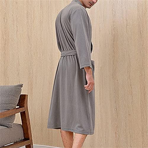 Mujeres Hombres Bata de baño Ducha Ropa de Dormir Camisones Bata Hombre Mujer Albornoz Mujer Larga Hombre Pijamas-Gray 1pc-2-XL