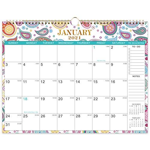 2021-2022 Calendar - 18 Months Wall Calendar with 6 Patterns,14.6'' x 11.4'', Jan. 2021 - Jun. 2022, Twin-Wire Binding Wall Calendar, Large Blocks with Julian Dates, Perfect for Easy Planning
