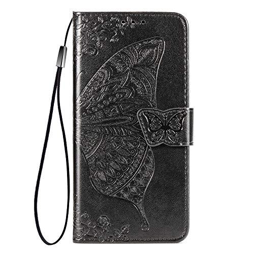 NEINEI Flip Folio Hülle für Xiaomi Redmi Note 10 Pro, Schutzhülle PU/TPU Lederhülle Klapptasche Handytasche mit Kartenfächer,3D Schmetterling Muster Handyhülle,Schwarz