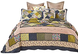 Tache Green Patchwork Quilt Bedspread - Spring Shower - Colorful Country Cotton Floral Lightweight Quilted Reversible Coverlet Set, 5 Piece Set, Queen