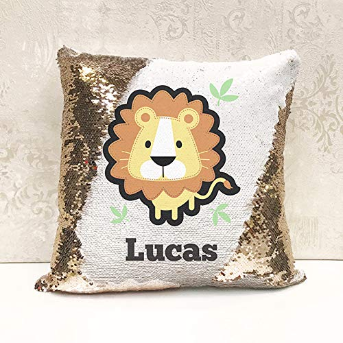 Genie Wholesale Luxury Personalised Reversible Sequin Cushion cute lion Gift Add any name for the perfect personalised present(Cover Only)