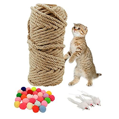 Sisalseil für Kratzbaum 6mm, Natürliches Sisalseil Katzen Zubehör mit 30 Stück DIY Katze Spielzeug Bälle und 3 Stück Hängendes Maus Spielzeug für Katzenbaum Kratzsaule DIY Dekoration (30 Meter)